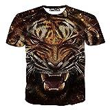 Camiseta Estampada Animal del Tigre De La Manga Corta Creativa 3D Digital Camiseta Informal del Hip-Hop del Cuello Redondo De Los Hombres para Fiesta Temática De La Playa,Tiger-M