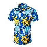FRAUIT Hawaiihemd Herren/Damen Mode Strand Stil Kurzarm T-Shirt Druck Baumwolle Tops