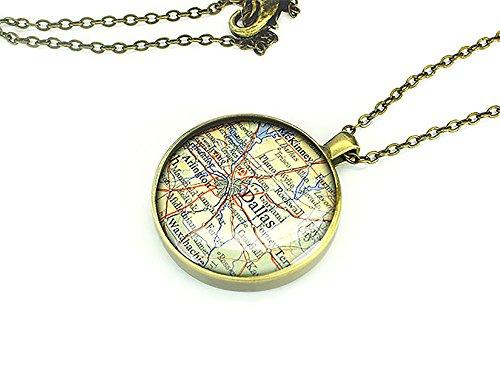 1953 Dallas mappa vintage-Collana con pendente in argento a forma di Texas forever love