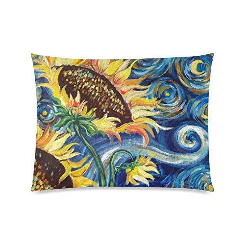 Vincent Van Gogh Gemälde Sonnenblume Rechteck Sofa Home dekorativer Überwurf-Kissenbezug Baumwolle Polyester Twin Seite Druck 50,8x 66cm (Monster-truck-plüsch Werfen)