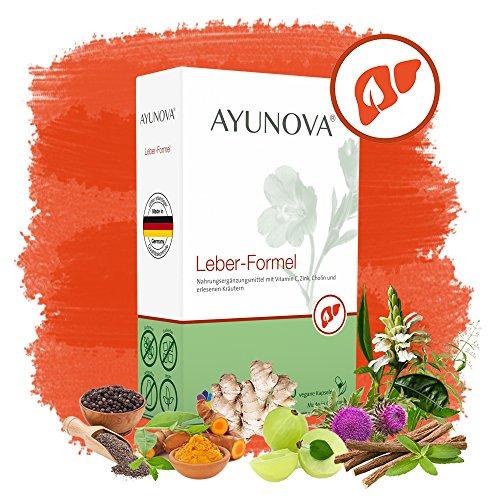 AYUNOVA Leber-Formel - 60 vegane Kapseln mit der einzigartigen Kombination aus bewährten Pflanzen, essentiellen Vitaminen und Mineralstoffen - Ihr täglicher Beitrag für eine geschützte Leber (Kapseln Herbal-supplement-60)