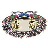 #10: Bombay Haat Big Size Designer Golden Pooja Thali / Engagement Ring Platter / Tilak Thali