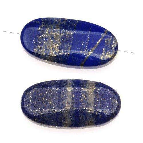 Edelsteine Lapislazuli, Klasse A, lang, oval, 15x30mm, 2 Stück