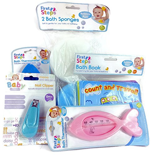 First Steps Baby Badewanne Bundle komplett Set Inc. Badewanne Bücher/Bad Spielzeug Boote/Badeschwämme/Bad Thermometer (Boot-set Baby)