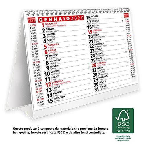 Calendario 2020 da tavolo per casa e ufficio con lune, santi e settimane - prodotto certificato FSC®