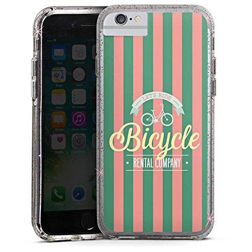 Apple iPhone 6s Bumper Hülle Bumper Case Glitzer Hülle Bicycle Fahhrad Sommer Bumper Case Glitzer rose gold