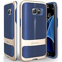 Galaxy S7 Edge coque, Vena [vAllure] Vague Texture [Bumper Frame][CornerGuard ShockProof | Sturdy Poignée] Mince Hybride Housse Étui Cover Case pour Samsung Galaxy S7 Edge (Or / Bleu)
