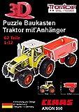 Tronico 30000 - 3D Puzzle Baukasten - Traktor Claas Axion 950 mit Anhänger, Maßstab 1:32, grün, 62 Teile