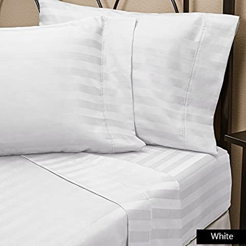 500 Thread Count Wrinkle Soft, Hotel Room ( White , King ) Striped 3-Piece Fitted / Bottom Sheet With 11 Inches Fit Deep Pocket 100% Pure Cotton By SRP Linen by SRP