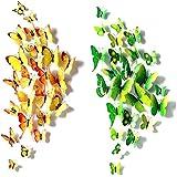 Goodlucky365 72 PCS 3D Schmetterlinge Wanddeko Aufkleber Abziehbilder, 12st Blau 12st Lila 12st Grün 12st Gelb 12st Rosa 12st Rot, schlagfestem Kunststoff Schmetterling Dekorationen, Wand-Dekor