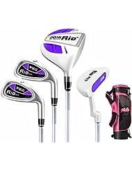 pgm Junior – Juego de palos de golf, Edad 9 – 12 (130 cm-150 cm), cuatro piezas de palos de golf con bolsa