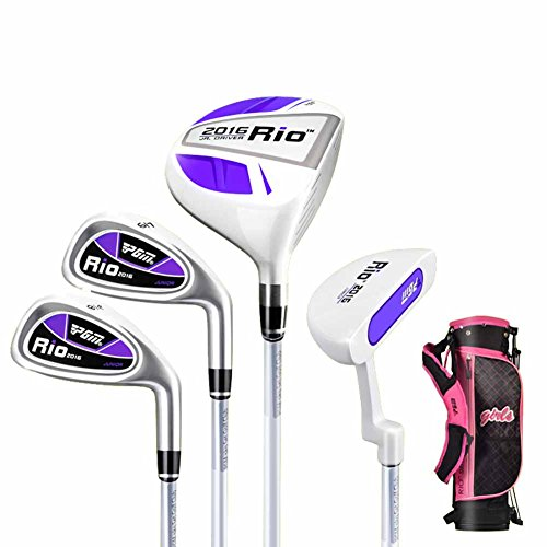 PGM Junior Golf Paket Set, Alter 3-5 (90-110 cm), vier Stücke Golf Clubs mit Tasche Purple and White with Stand Bag -