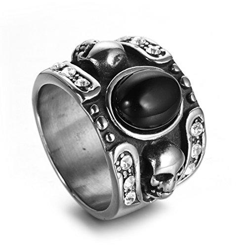 Aooaz Schmuck Edelstahl Doppel Schädel Konvex Zirkonia Herren Ring Schwarz Ring Gr. 57 (18.1) (Doppel-osmanischen)
