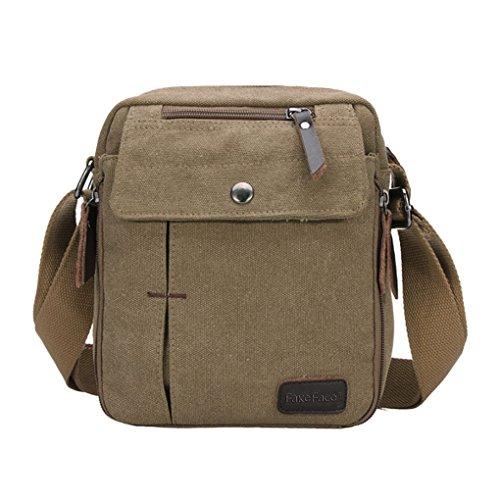 Herren Vintage Canvas Schultertasche Umhängetasche Kleine Handtasche Outdoor Sport Messenger Bag Freizeittasche Khaki Khaki