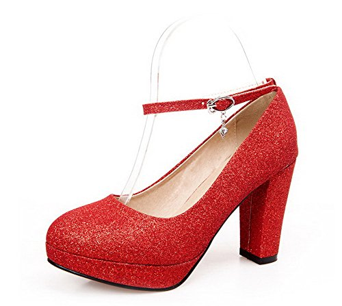 VogueZone009 Damen Schnalle Hoher Absatz Pailletten Rein Rund Zehe Pumps Schuhe Rot