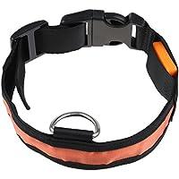 SODIAL(R) LED parpadeante luminosa Seguridad Ajustable Perro Luz mascotas Nylon Llanura Collar Tag - Naranja L