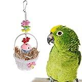 Cesta de flores con campana de juguete con diseño de loro, decoración de jaula colgante para masticar