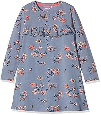 NAME IT Mädchen Kleid Nmfdabille LS Dress, Mehrfarbig (Flint Stone), 110