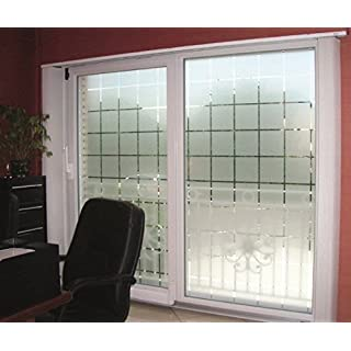 Active Film Patterned Decorative White Frosted Window Film - Privacy Frosted Glass Film Large Block Pattern 2m x 76cm (30