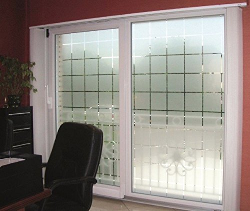 Active Film Patterned Decorative White Frosted Window Film - Privacy Frosted Glass Film Large Block Pattern 20m x 76cm (30