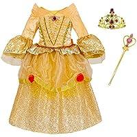 ERWAA Abito da principessa ragazza impostato con il diadema bacchetta bambino costume abiti eleganti per il Carnevale la festa di Natale di Cosplay Gioco Carnevale Giallo