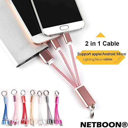 NETBOON® Short Dual USB 2 in 1 Ligtning + Micro USB Fast Charging & Data Cable with Keyring for Power Bank,Samsung,Apple,Microsoft,Nokia,Sony,LG,HTC,Motorola,Huawei,Lenovo,Xaiomi,Google,Asus,Syska,Ambrane.oppo,Blackberry,Lava,Gionee,Vivo,Leeco,Intex,mi,PNY,Anker,iphone5,6,7  available at amazon for Rs.149