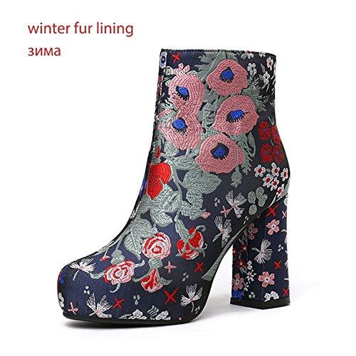 HOESCZS Sticken Dicke High Heels Frauen Stiefel Plattform Herbst Zip High Neck Schuhe Retro Bootie Warme Karree Schuhe Frau 8,5 Schwarz - Echtleder-plattform