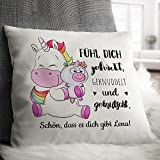 Personello® personalisiertes Einhorn Kissen (mit Name und Spruch gestalten), Einhorn Geschenk für die beste Freundin, Schwester oder Tochter, 40 x 40 - 2