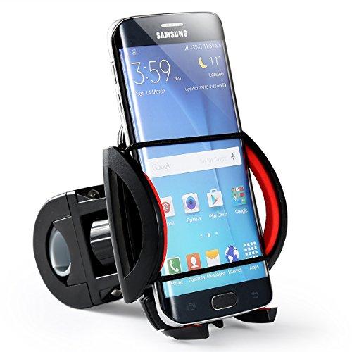ONEDONE Universal universell einstellbar Mountainbike Fahrrad Lenkerhalter Lenker Handyhalter Handyhalterung Handy Halter Halterung Ständer für Iphone 4/4s/5/5s/5c/6/6s/6plus Samsung Galaxy usw (Schwarz Rot)