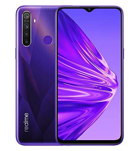 Realme 5 - Smartphone de 6.5', 4GB RAM + 128GB ROM, LCD Multitáctil, procesador Octacore, cuádruple cámara 12MP IA, Dual Sim, púrpura (Crystal Purple), [Versión española]