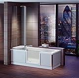Badewanne 1800x800 mm / 180x80 cm HOSTYLE mit Tür inkl. Duschaufsatz, Schürze und Ablauf, Linke Ausführung
