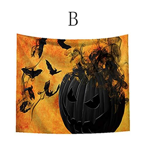 LANDFOX Halloween Horror Thema Wandbehang 93X75cm Schloss-Schädel-Geist-Kürbis-Kopf-Halloween-Thema Tapisserie Hängenden Geist Drinnen Halloween Dekoration Ideen Aufblasbarhalloween