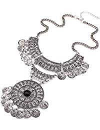 Shining Diva Fashion Oxidised Jewellery Bohemian Antique Vintage Chain Pendant Party Wear Stylish Necklace for Women & Girls(Silver)(8619np)