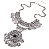 Shining Diva Fashion Oxidised Jewellery Bohemian Antique Vintage Chain Pendant Party Wear Stylish Necklace For Women & Girls