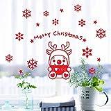 WFYY Weihnachten Wandaufkleber Cartoon Moose Schneeflocke Weihnachten Schlafzimmer Kunst Dekoration Aufkleber Fenster Aufkleber für Weihnachten