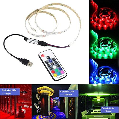 VENMO 1M 5050 RGB LED-Streifen nicht-wasserdichte USB-LED-Lichtstreifen flexibles Band DC 5V Auto LED Innenraum Innenbeleuchtung Streifen Leuchte LED Auto Lichtleiste RGB Atmosphäre Lichter Strip