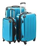 Hauptstadtkoffer® Modell Alex 3er Kofferset Hartschale Trolley cyanblau-Hochglanz,TSA-SCHLOSS,4 cm Dehnfalte,119l,74l,4