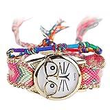 WINWINTOM Nativo Manual MujerReloj de Cuarzo Vintage, Gafas Cat Amistad Reloj (Color_C)