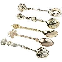 VANKER Vendimia talló la mini cuchara 5Pcs / Lot de la cucharada del helado del té del café -- Oro