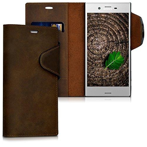 kalibri Sony Xperia XZ/XZs Hülle - Leder Handyhülle für Sony Xperia XZ/XZs - Handy Wallet Case Cover