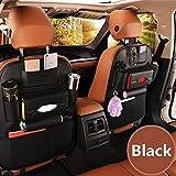 Haosen Leder material Multifunktionssitzauto Rückentasche des Autositzes mit mehreren taschen Auto-Aufbewahrungsbeutel - Geeignet für 99% der Fahrzeugmodelle (Schwarz)