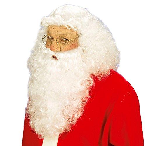 Widmann S0867 Weihnachtsmann Perücke mit Bart in Schachtel, weiß