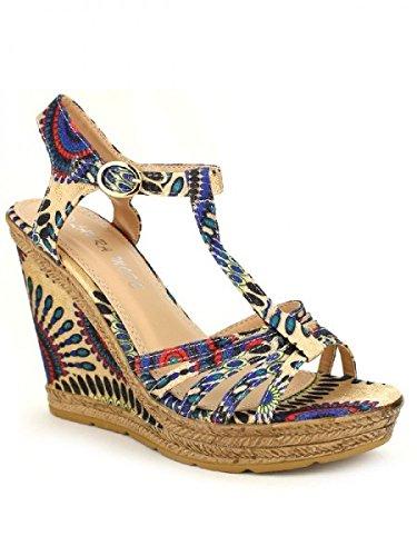 Cendriyon, Compensées Multicolores Blue PAINTS MODA Chaussures Femme Bleu