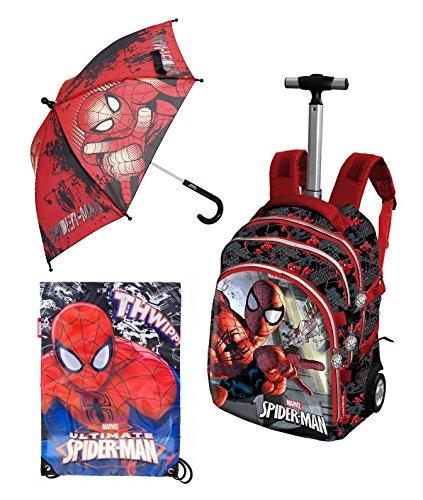 Set 3 pezzi zaino trolley marvel spiderman peso solo 2,3 kg 19 x 30 x 48 cm + sacca zaino palestra + ombrello