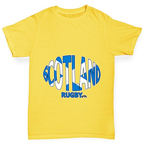 TWISTED ENVY Girl 's Scotland Rugby Ball Flagge Funny Baumwolle T-Shirt Gr. Large, Gelb