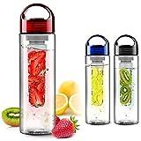 FunRun 700ml Plástico ecológico y sin BPA botella de agua, sport water bottle Deportiva, tritan botella reutilizables con Infusor de Esencia de Frutas, Rojo