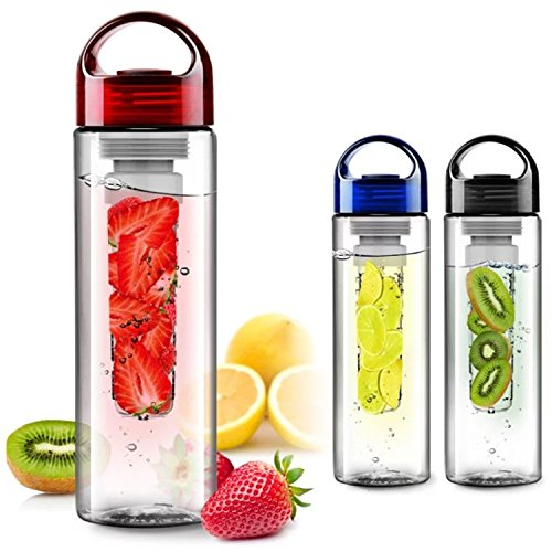 FunRun 700ml Eco-friendly plastic and without BPA water bottle, sport water bottle Sporty, tritan reusable bottle with Fruit Essence Infuser, Red