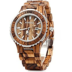 GBlife BEWELL ZS-100BG Mens Wooden Watch Analog Quartz Movement with Date Display Retro Style- Zebra Wood