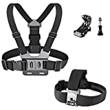 Greleaves Chest Strap Mount Harness Chesty and Head Strap Mount with J-Hook for Gopro Hero 5 Black, Gopro Hero 5 Session, Gopro Hero 6, Gopro Hero Session, Gopro Hero 4, Gopro Hero 3