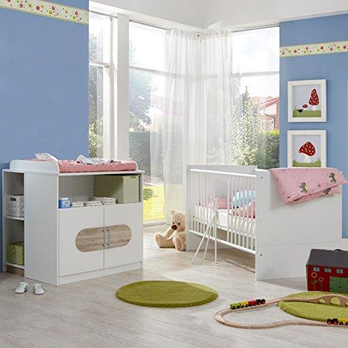 Babyzimmer Eiche weiß Babybett Gitterbett Wickeltisch Unterschrank Wickelkommode